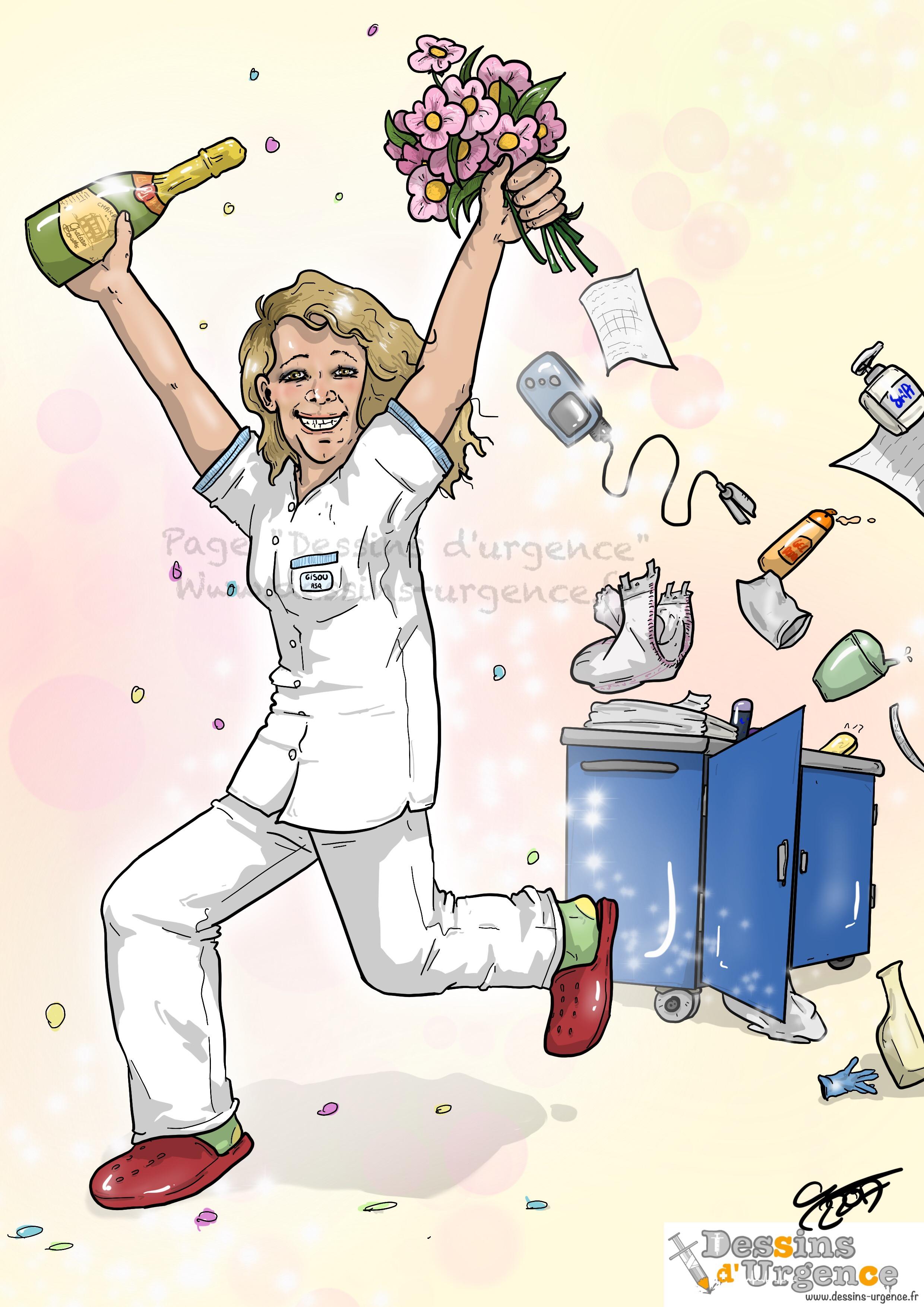 Vid o du tv d part de gisou dessins d 39 urgence - Dessin infirmiere humoristique ...